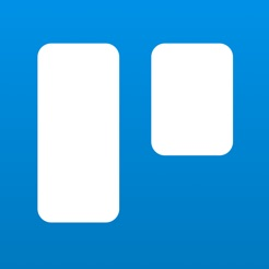 Via Itunes.com [Image description: Trello app logo, two white rectangles against a blue background.]