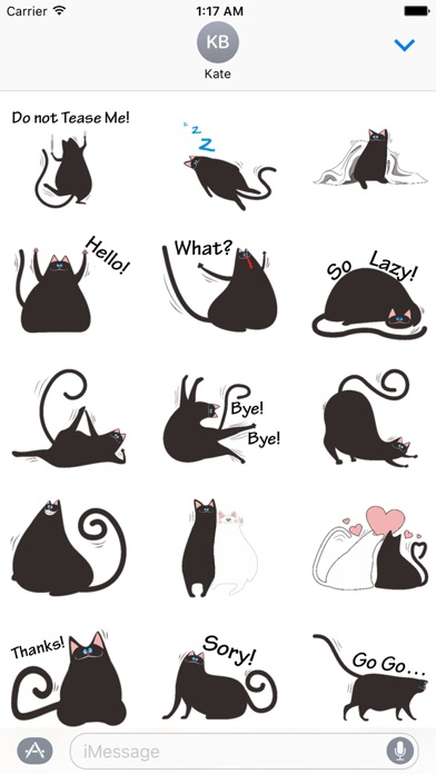 Chubby Black Cat Emoji Sticker screenshot 2