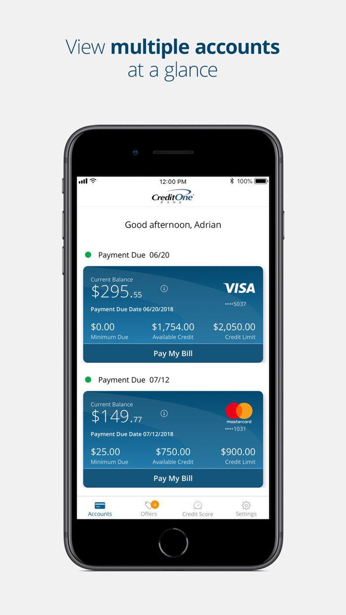 Credit One Bank Mobile Screenshot