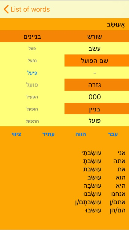 Hebrew Verbs Mobile
