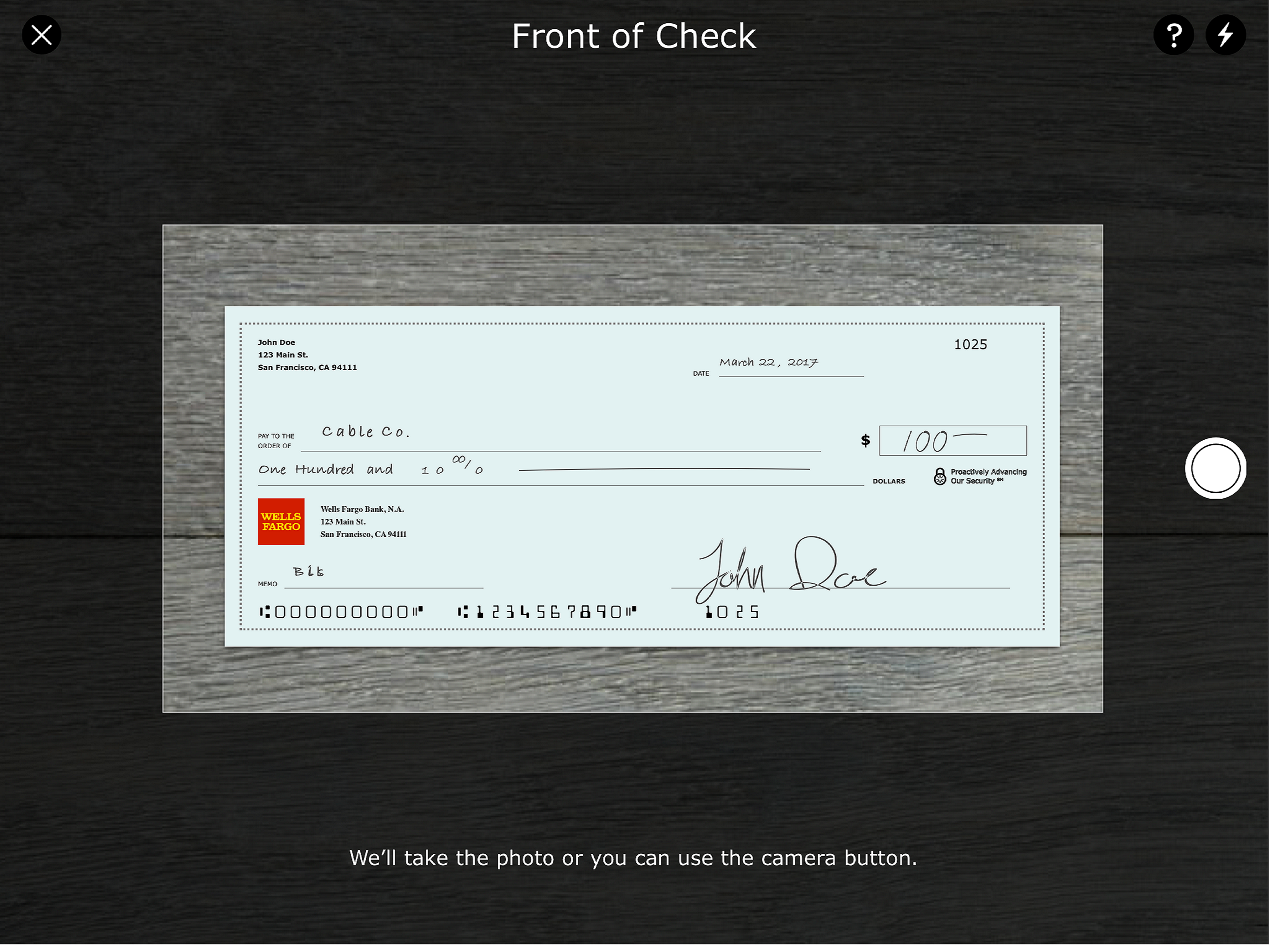 Wells Fargo for iPad Screenshot