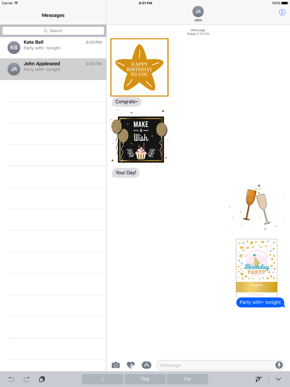 Birthday Card - Collection of Gold Style Stickers screenshot 8