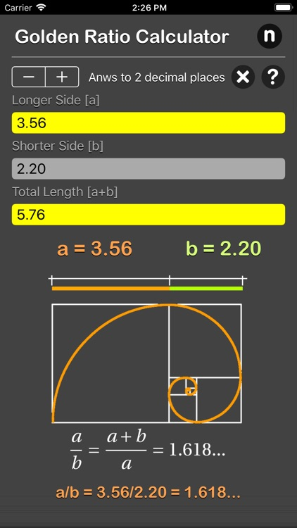 Golden Ratio Calculator Plus