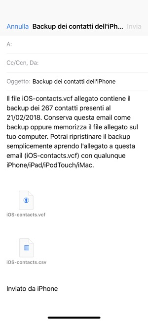 Backup Contatti Screenshot