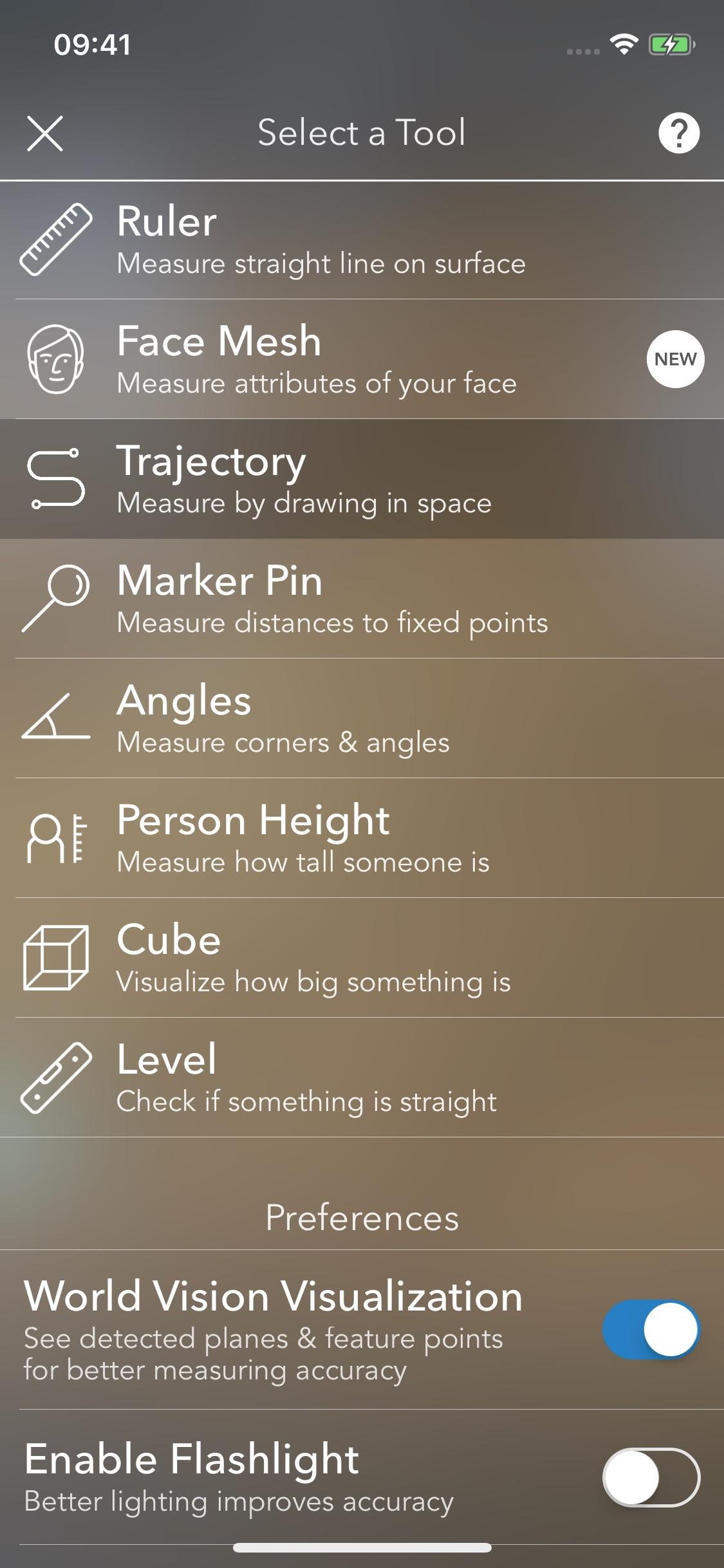 Screenshot do app MeasureKit - AR Ruler Tape