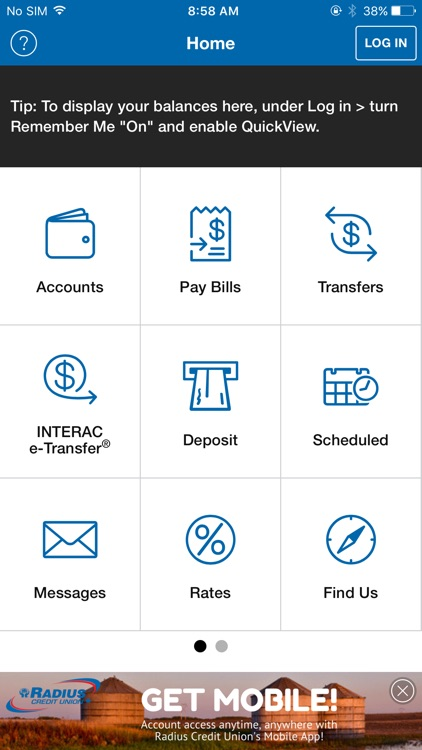 Radius Credit Union Mobile App