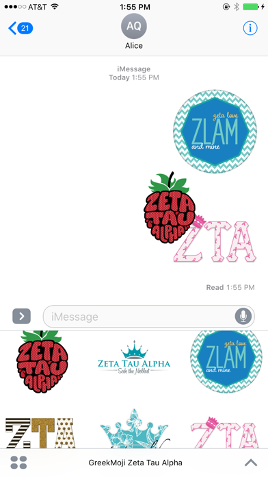 GreekMoji - Zeta Tau Alpha Sticker Pack screenshot three