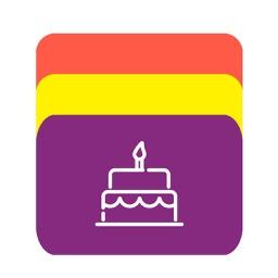生日卡片 - 多彩色名片夹式的管理工具