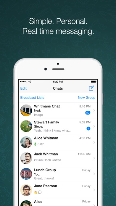 WhatsApp Messenger Screenshot on iOS