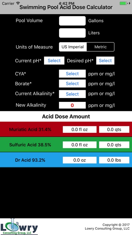 Pool Acid Dose Calc