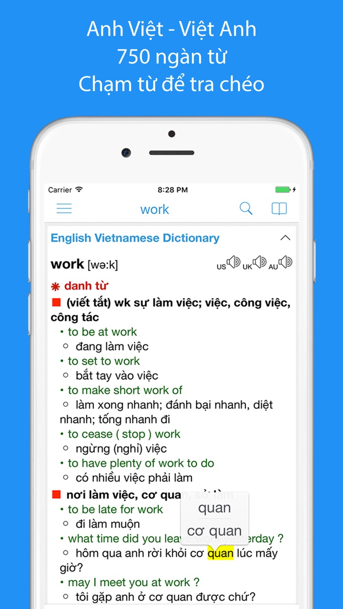 Vietnamese Dictionary Box Screenshot