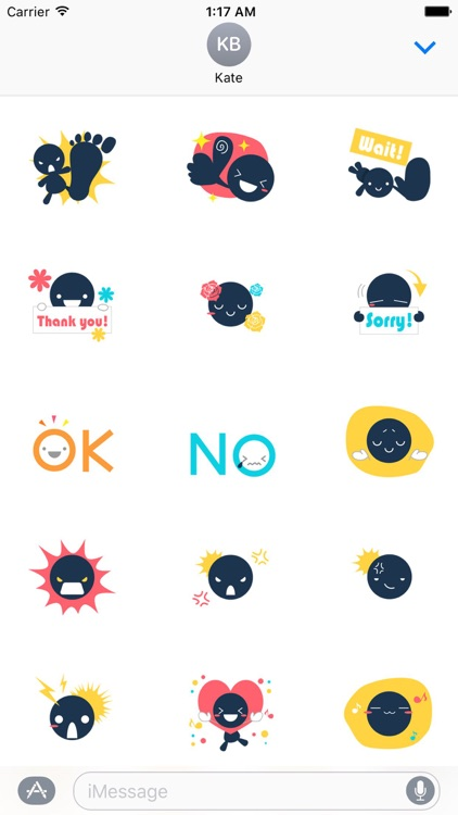 Black smile cool emoji sticker