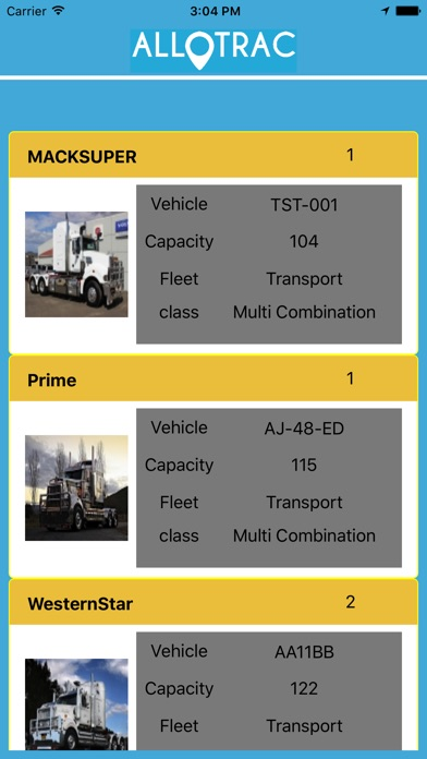 Allotrac Truck Screenshot