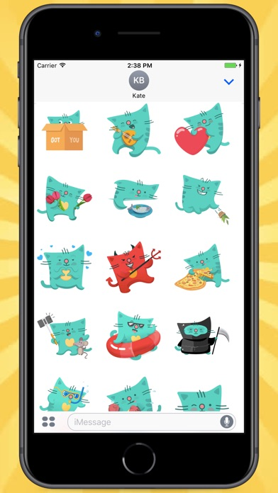 Screenshot for Green Square Cat Stickers in India App Store