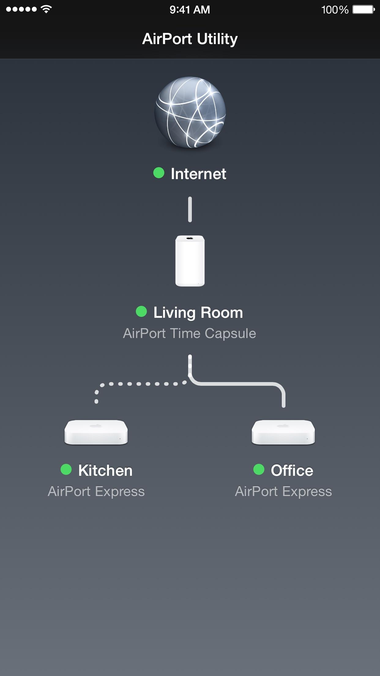 Screenshot do app Utilitário AirPort
