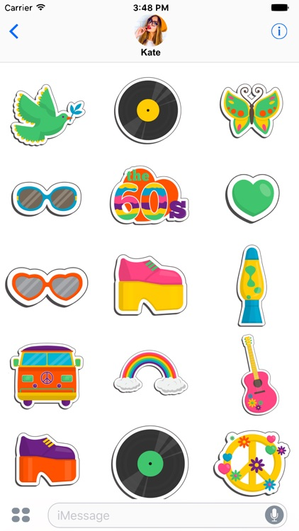 Vintage hippie stickers for message