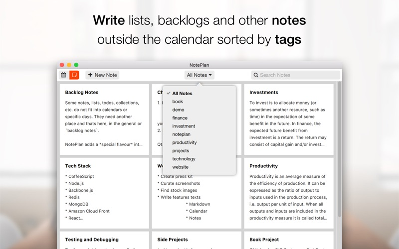 NotePlan - Markdown Calendar Screenshots