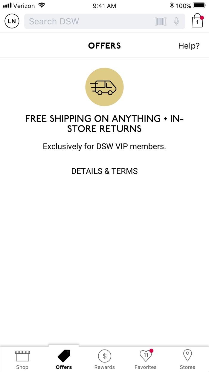 DSW Designer Shoe Warehouse Screenshot