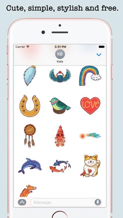 Cute Art Stickers For iMessage screenshot-3