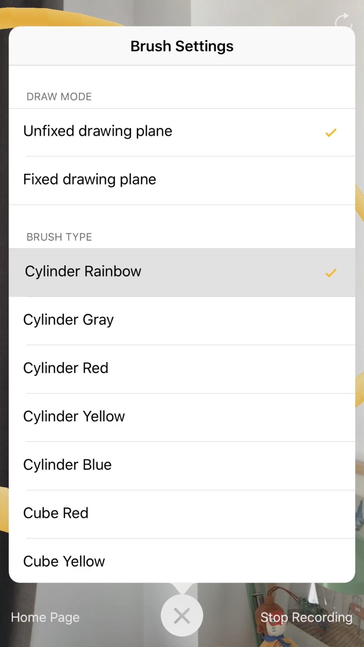 Screenshot do app AR+Brush