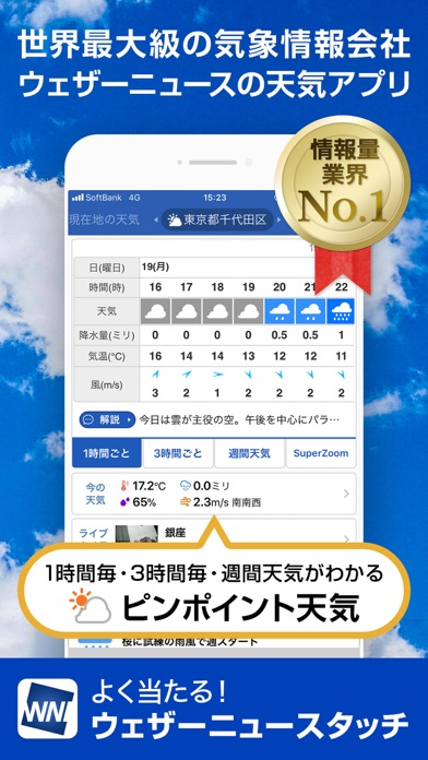 天気予報ウェザーニュースタッチ ScreenShot0