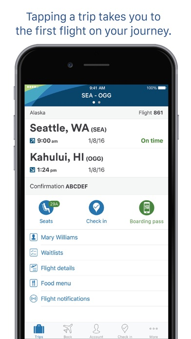 Alaska Airlines review screenshots