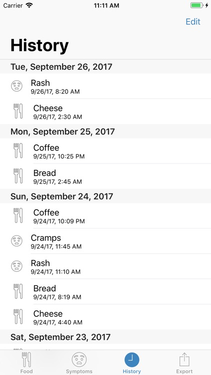 Food and Symptom Log screenshot-2