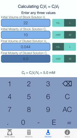 Molar Mass and Molarity Calculator on the App Store