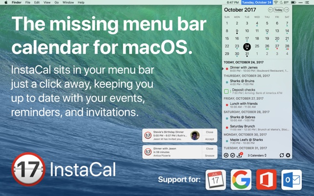 ‎InstaCal - Menu Bar Calendar Screenshot