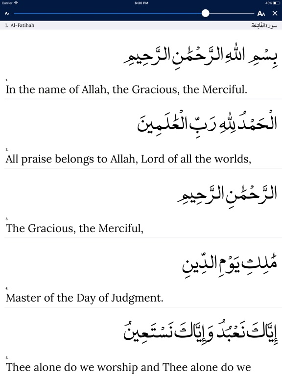 The Holy Quran and translation Screenshot