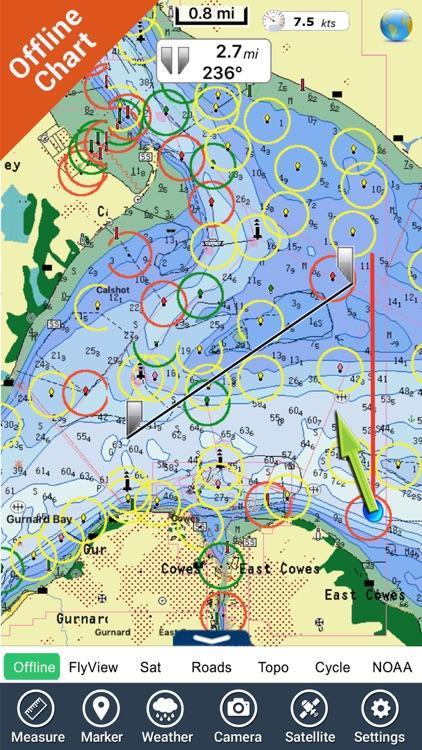 Marine : Solent HD - GPS Map Navigator screenshot-3