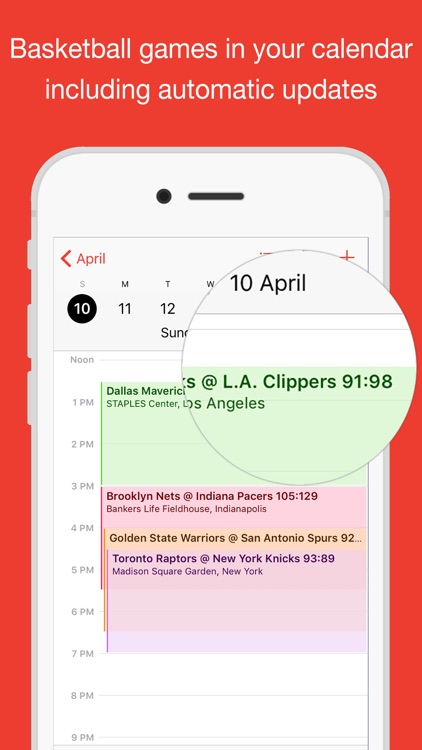 Basketball for iPhone Calendar