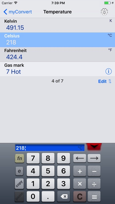 myConvert - unit converter screenshot four