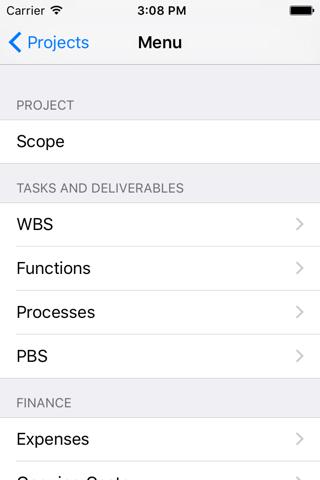 Screenshot of iProject (mobile)