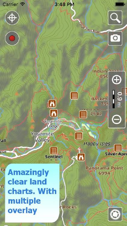 Yosemite NP Hiking Trails GPS screenshot-0