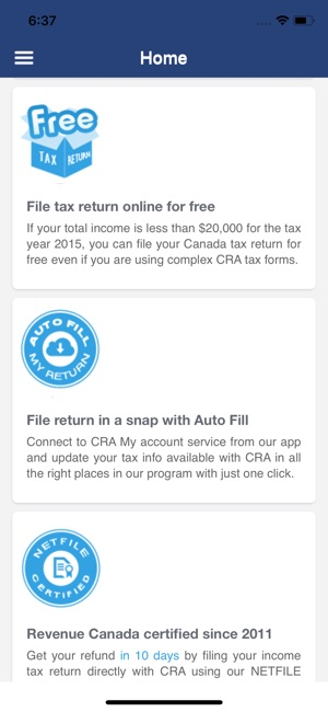 efile canadian tax return on the app store