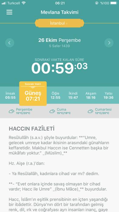Mevlana Takvimi Namaz Vakti screenshot one