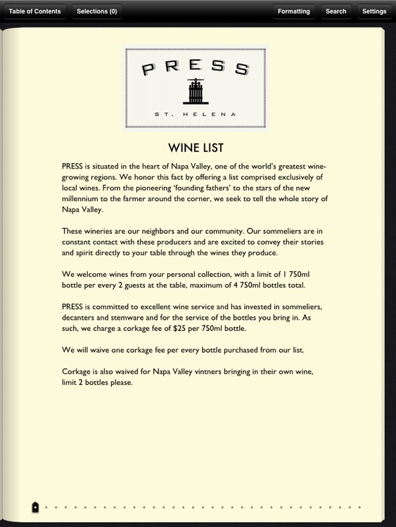 Press Wine List