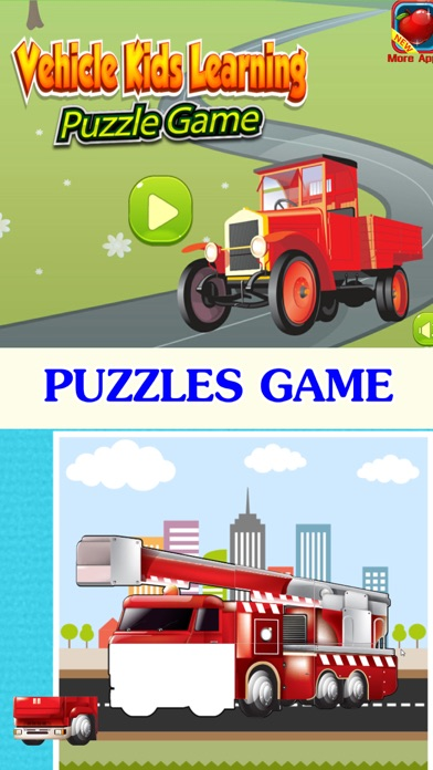 Vehicle kids learning : car and truck puzzle games screenshot one