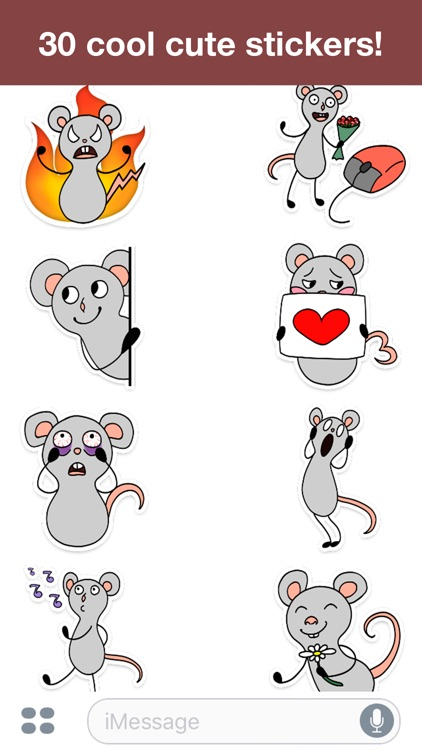Gray mouse - Cute stickers screenshot-3