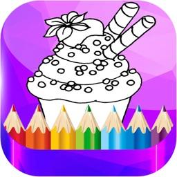 Cartoon Cup cake Coloring Book