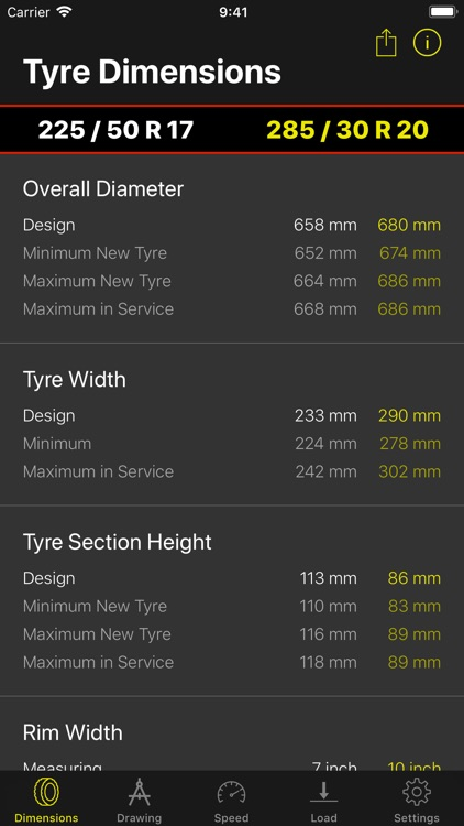 Tyre Dimensions screenshot-1