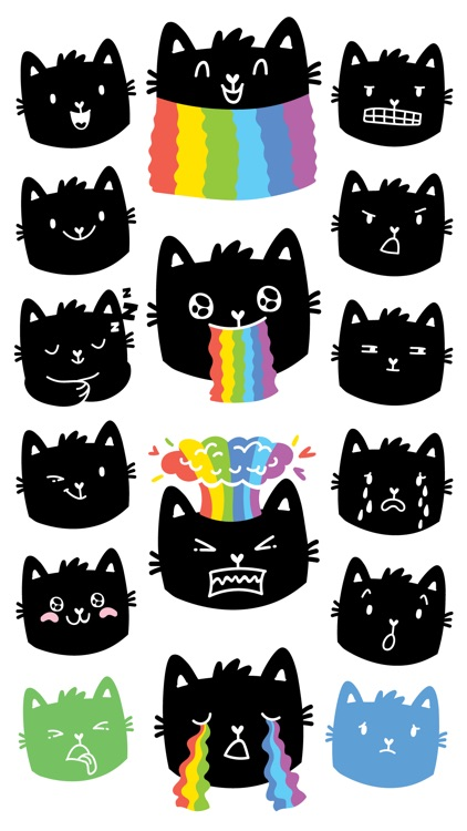 Rainbow cat! Stickers for iMessage