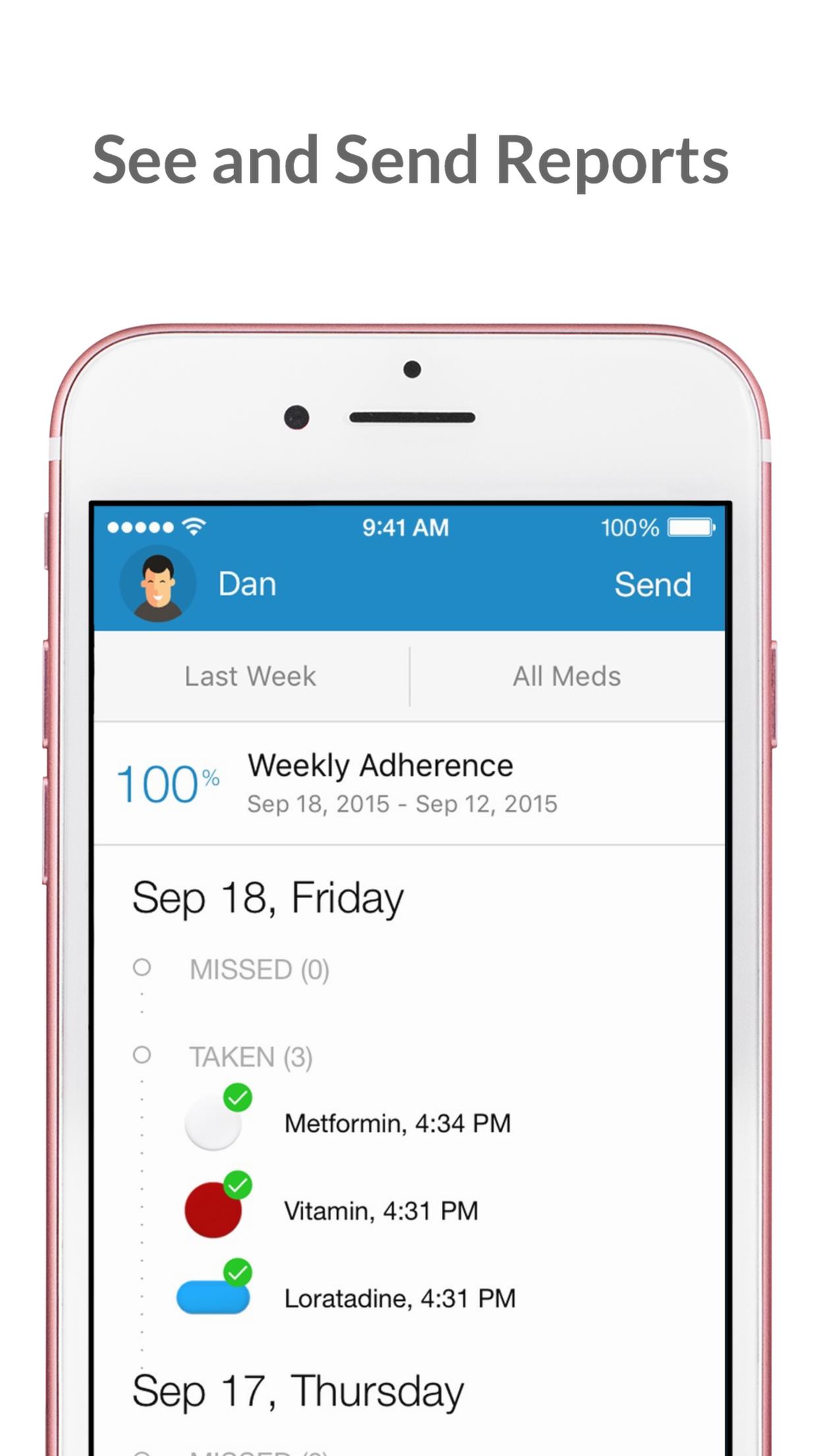 Pill & Med Reminder - Medisafe Screenshot