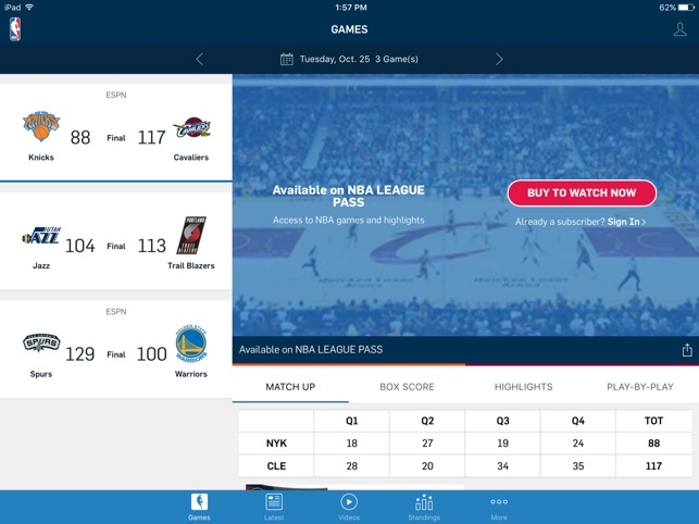 NBA App Screenshot
