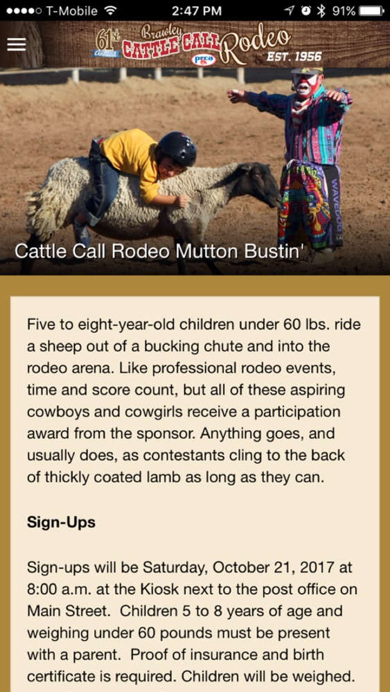Brawley Cattle Call Rodeo App for iPhone - Free Download Brawley
