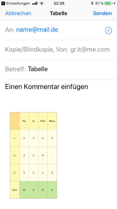 TabelleEinfachScreenshot von 3