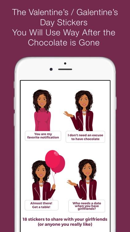 Valentine's/Galentine's Day girl-talk stickers (E)