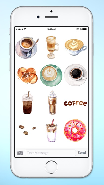 I Love Coffee Watercolor Sticker Pack