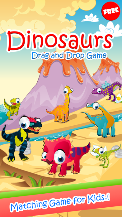 Dinosaurs Drag And Drop Shadow Matching Kids Games